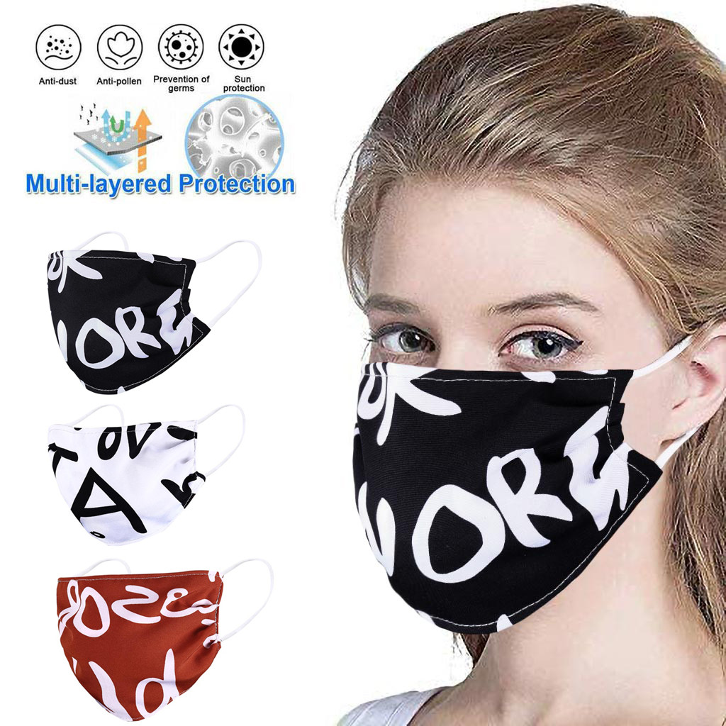 PM2.5 Anti Haze Face Mask Anti Dust Mouth Face Mask Mouth-muffle Face Mask Anti-ultraviolet Letter Print Face Mask Washable