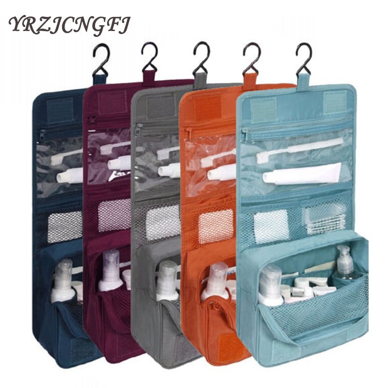 Travel Packing Organizers Waterproof Portable Cosmetic Bag Hanging Wash Bag Neutral Bathroom Velcro Pack Travel Accessories