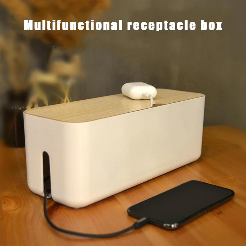 Wooden Charging Cable Wire Storage Box Power Strip Wires Case Anti Dust Charger Socket Desk Organizer Home Storage
