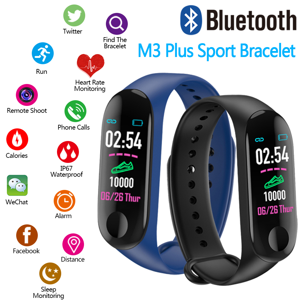 Image 2 - 2019 M3 plus Smart Bracelet Fitness Pedometer Watch Running Tracker Blood Pressure Heart Rate Monitor Sports Pedometer Band-in Pedometers from Sports & Entertainment