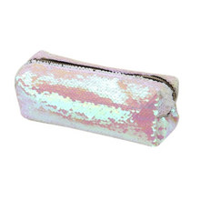 DIY Double Warna Payet Glitter Tas Pensil Case Kosmetik Tas Make Up Pouch (Putih)(China)