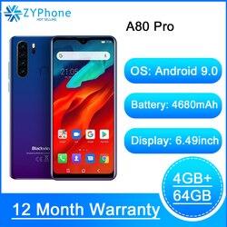 Blackview A80 Pro Quad сзади Камера, смартфон, четыре ядра, 4 ГБ/64 ГБ Android 9,0 6,49 ''в виде капли воды, 4680 мА/ч, глобальный 4G мобильный телефон Новый