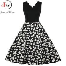 2020 Women Floral Print Dress Summer Sexy V-neck Sleeveless Elegant Vintgae Party Dress Vestidos Plus Size S~3XL Robe Femme