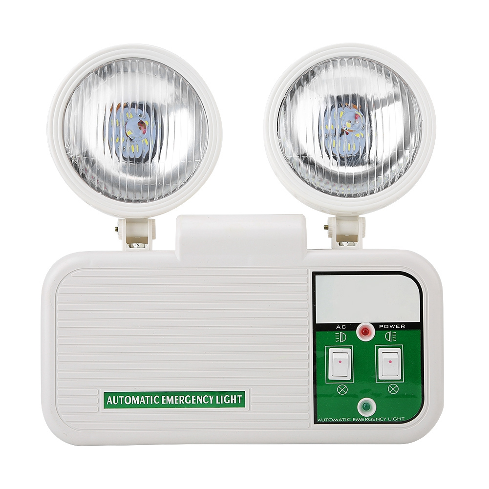 Adjustable 2W Dual Lamp Head Exit 8 LEDs Emergency Light 110-220V EU Plug High Brightness LED Lamp