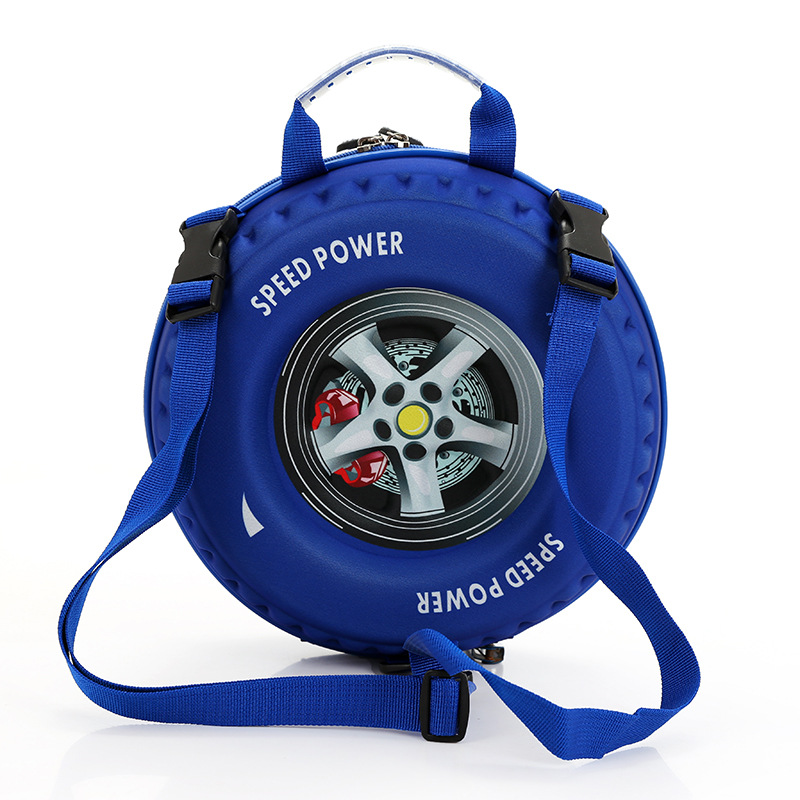Round 3D Car Children's Bag Cute Wheel Backpack Children Boy   Girl Backpack Diagonal Package 3-6 Years Old Gift