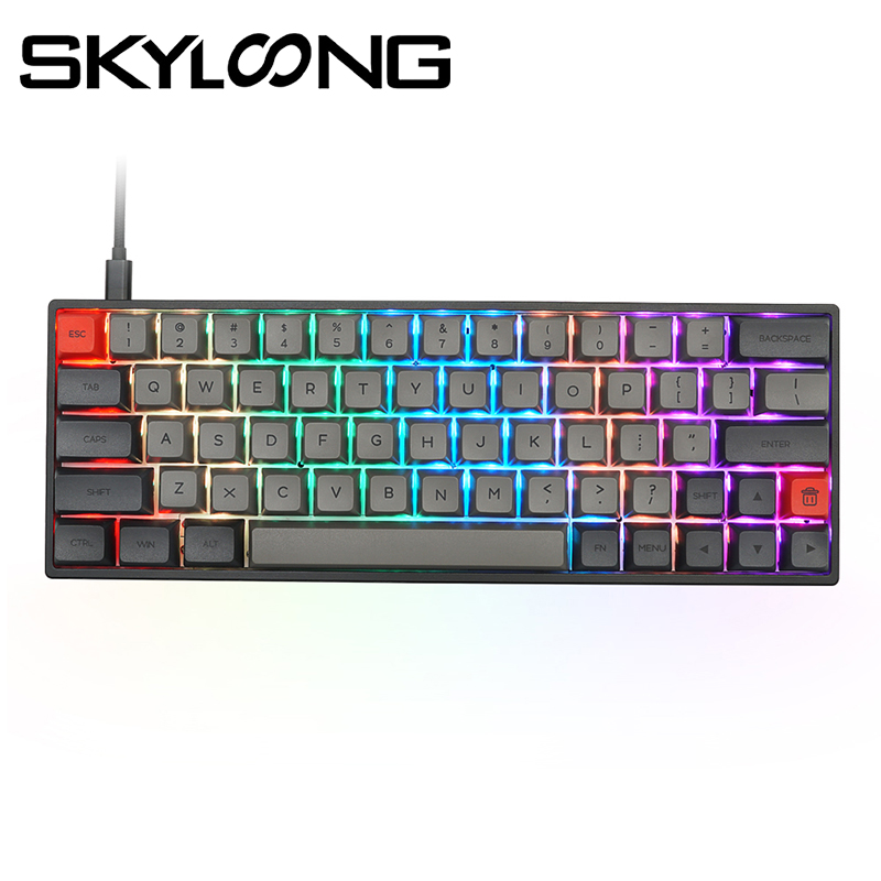 SKYLOONG SK64 64-Key Gaming Mechanical Keyboard Gateron Optical Switches Compatible WIth Mac/Windows Language Stickers 60% RGB