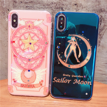 Beautiful girl Phone Case For iPhone X 8 7 6 6S Plus Blu-ray Drill XS Max XR Xs Soft blue-ray soft Cases
