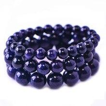 Azul marinho do vintage grânulo de arenito pulseiras para as mulheres na mão moda jóias presente de natal charme pulseiras