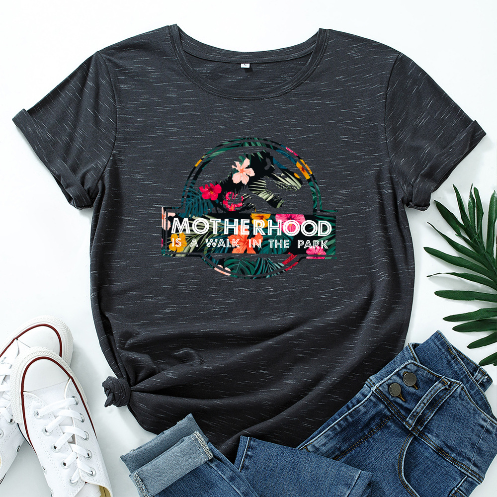 JFUNCY Casual Cotton T-shirt Women T Shirt Motherhood Letter Printed Oversized Woman Harajuku Graphic Tees Tops 12
