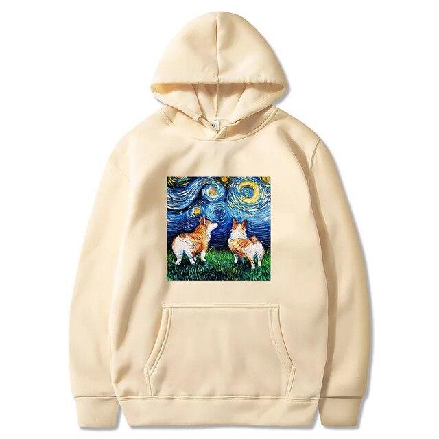Jesień zima polar Van Gogh obraz olejny sweter grube luźne męskie bluzy Hot Harajuku jednolita bluza męska