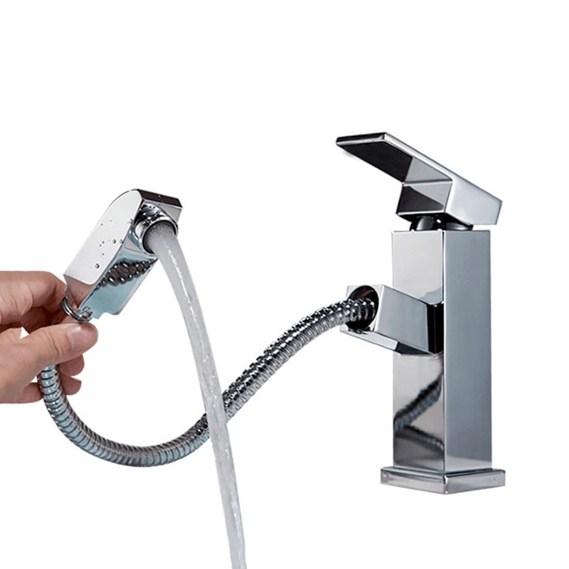 LASO Washbasin faucet hot and cold square pull out faucet black Chrome Sink Mixer Tap Vanity Water mixer tap Bathroom Faucet