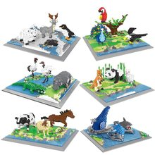 Новое поступление с возможностью креативного самостоятельного выбора между зоопарк строительные блоки животный мир Diamond Micro кирпичей с мил...