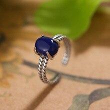Anillos de dedos de mujer de diamantes de imitación azul oscuro de moda de 100% Plata de Ley 925 joyería al por mayor mujeres chicas anillo de compromiso abierto