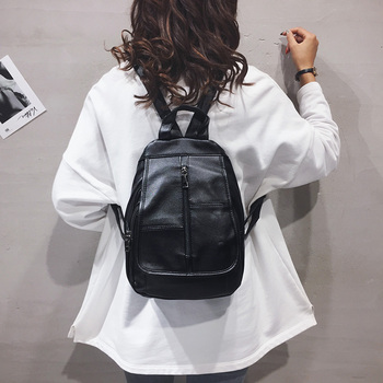 High Quality PU Leather Women Backpack Casual Women's Black Backpacks Purse Fashion Simple School Bags for Teenager Girl Bookbag - discount item  49% OFF Women's Handbags