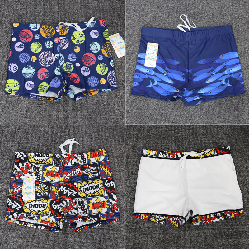 New Swimmers CHILDREN'S Swimming Trunks BOY'S Loose-Fit Lace-up Cartoon Quick-Dry Swimming Trunks BOY'S Swimming Trunks
