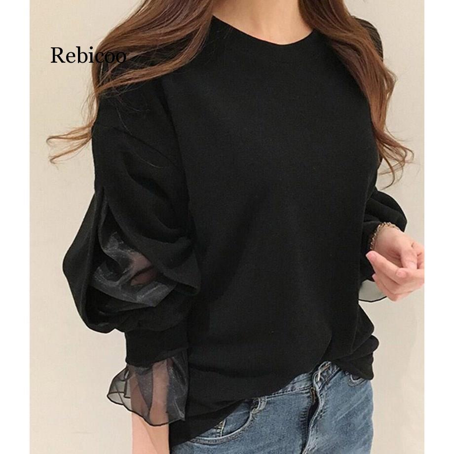 Casual Long Sleeve Mesh Patchwork Pullover Hoodies Women Korean Style Black Tops Loose Sweatshirt