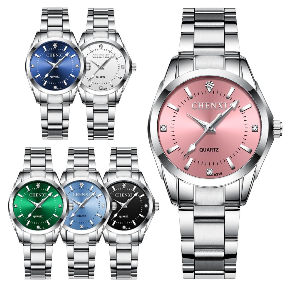 CHENXI Fashion Women Colorful Dial Reloj Mujer Concise Girl Wrist Watches Female Quartz Ladies Rhinestone Clocks Watch