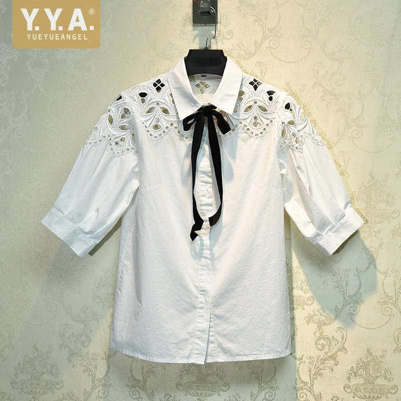 Office Ladies Elegant Simple White Shirt Short Sleeve Lace Up Tops Female Embroidery Hollow Out Bowknot Sweet Blouses Summer Top