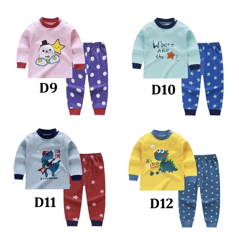Kids Boys And Girls Nightwear   Set   Cartoon Animal Long Sleeve Tops+Pants Sleepwear   Set   Boys   Pajamas     Set