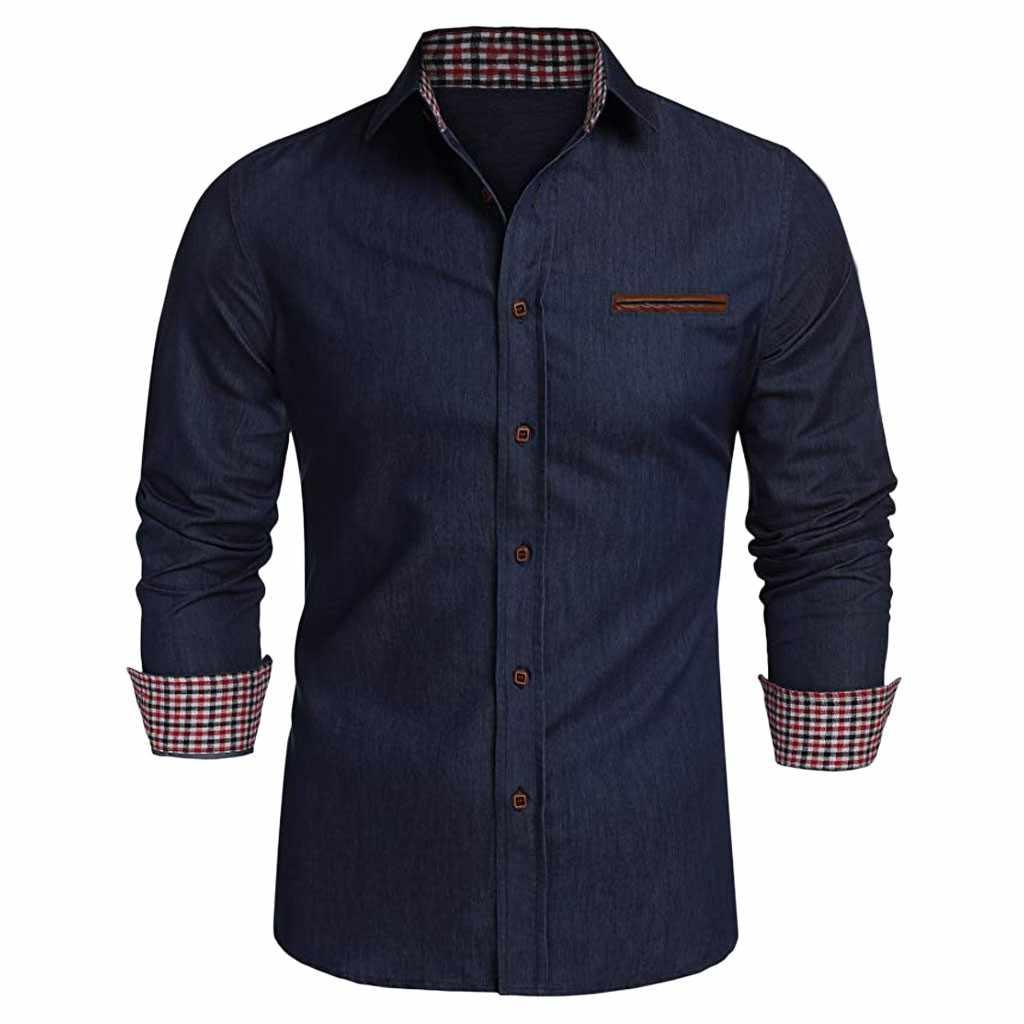 Womail قميص رسمي للأعمال الرجال الخريف موضة اليورو الأمريكية قميص الدنيم طويلة الأكمام زر الذكور الاجتماعية عادية الصلبة قميص بلوزة P94