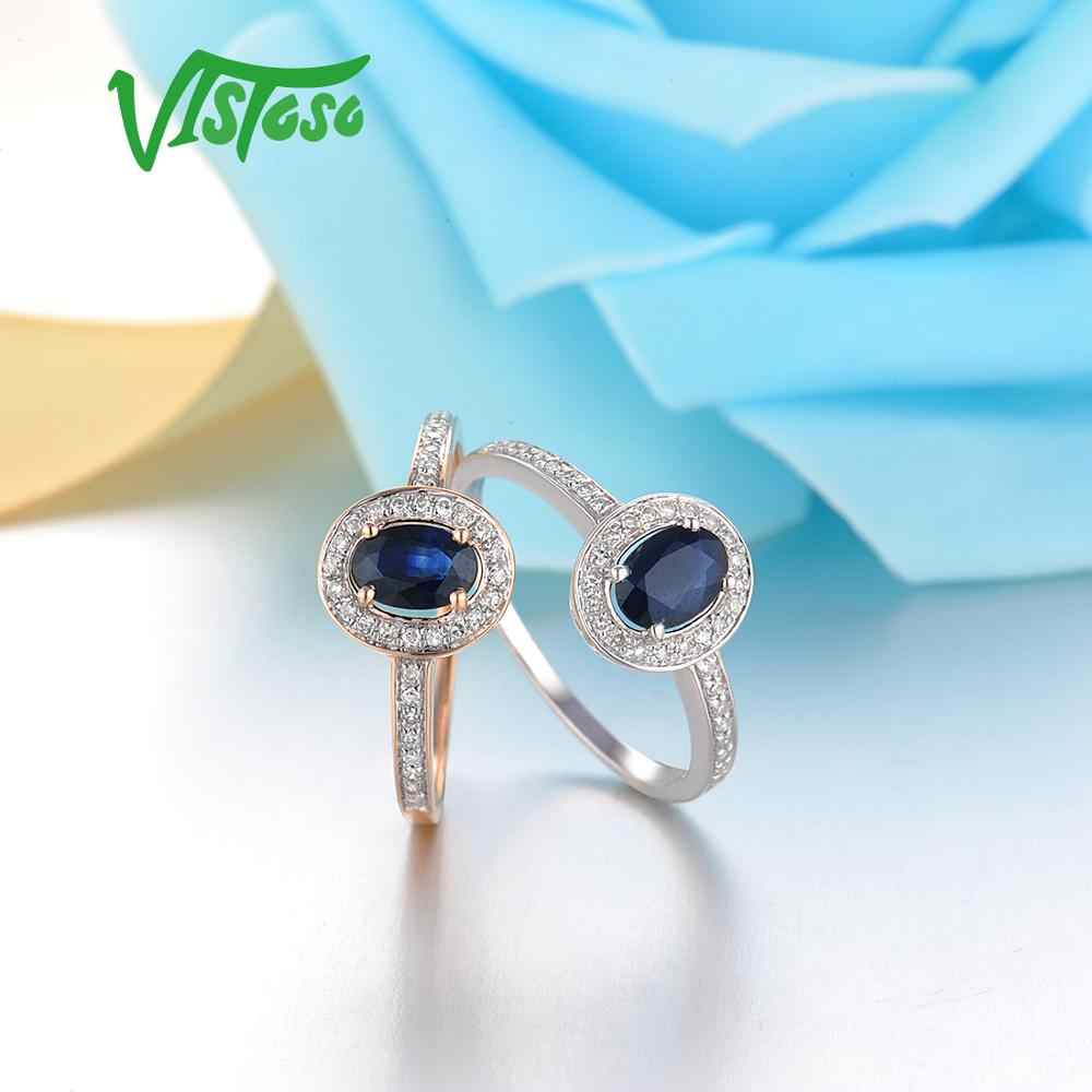 VISTOSO 14K White Gold Rings For Women Genuine Sparkling Diamond Fancy Blue Sapphire Engagement Anniversary Unique Fine Jewelry