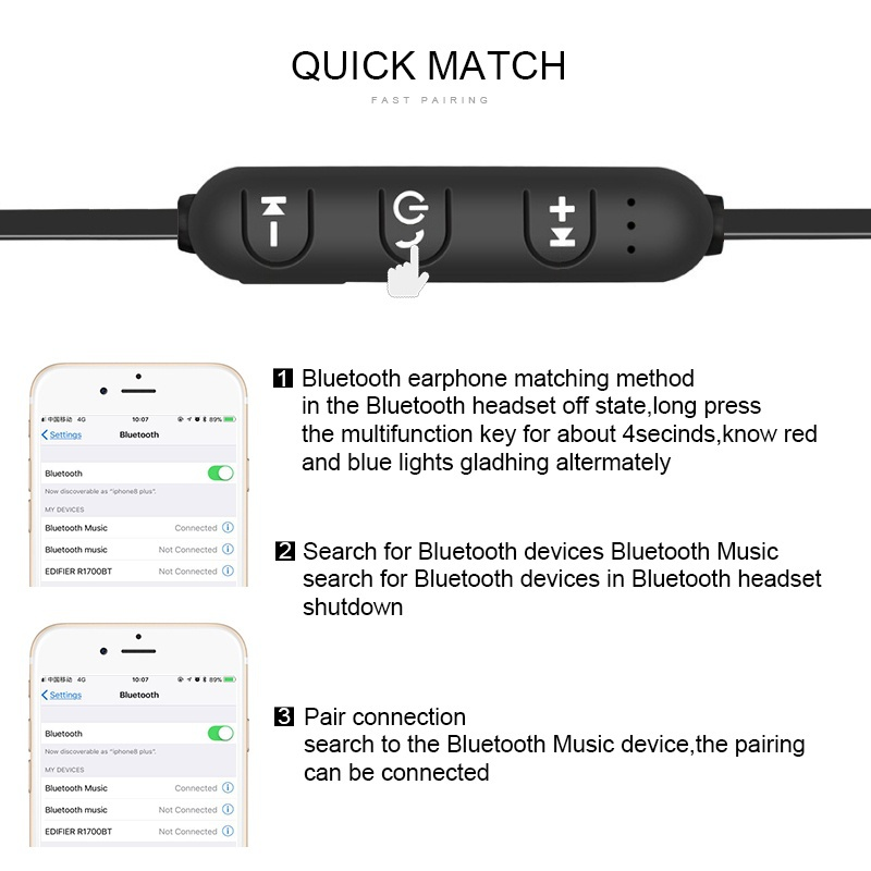 5.0 Bluetooth Earphone Sports Neckband Magnetic Wireless earphones Stereo Earbuds Music Metal Headphones With Mic For All Phones 2