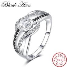 [Черный AWN] изысканные серебряные ювелирные изделия 3,5 г из натуральной 925 пробы, трендовые обручальные кольца для женщин, обручальное кольцо C047