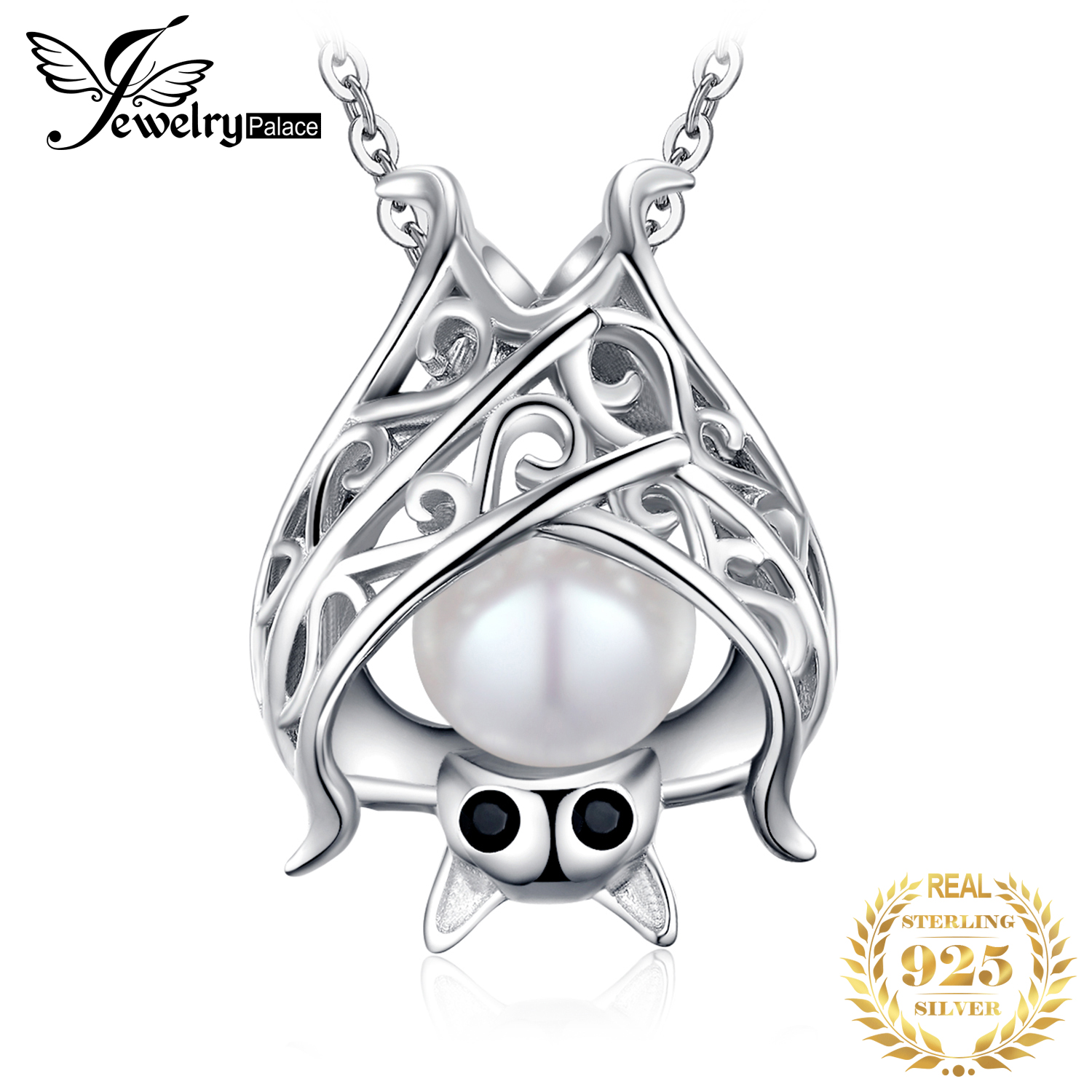 JPalace Bat Created Sapphire Pearl Pendant Necklace 925 Sterling Silver Gemstone Choker Statement Necklace Women Without Chain