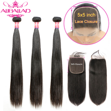 Extensions de cheveux Remy brésiliens lisses, mèches de cheveux naturels, avec Lace Closure, 5x5, lot de 3