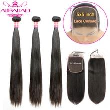 Mechones de pelo lacio brasileño 5x5 con cierre, cabello humano ondulado, 3 mechones con cierre de encaje, extensión de cabello Remy brasileño