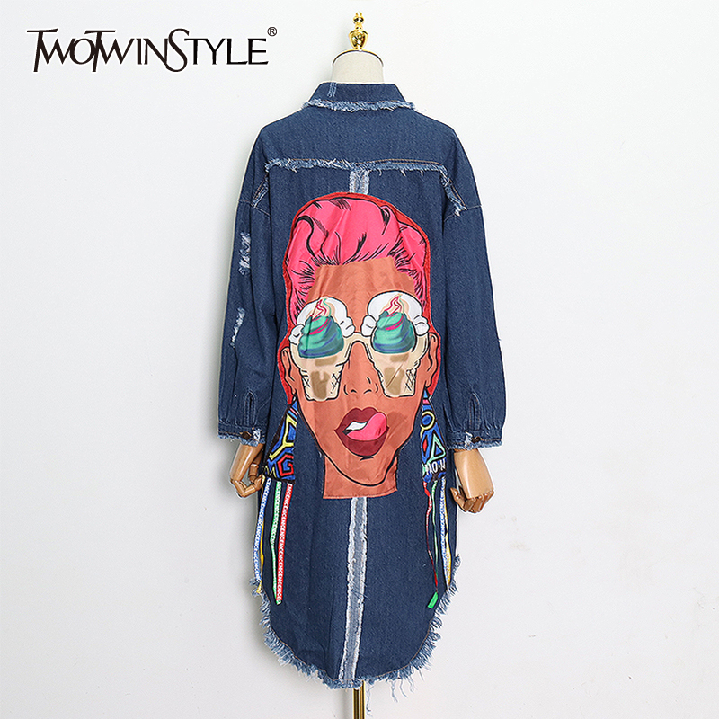 TWOTWINSTYLE Print Cartoon Women's Windbreaker Lapel Collar Long Sleeve Patchwork Tassel Hollow Out Denim Trench Coats 2020 New