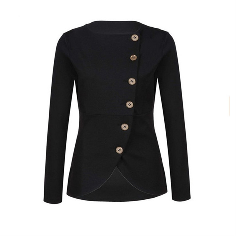 Women Fashion Solid Color Jackets Office Lady Slim Outwear Female Formal Buttoned Coats None Collar Work Wear