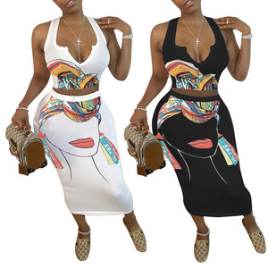CM.YAYA Women Summer Cartoon Character Print V-neck Crop Tops Midi Bodycon Skirt Suit Two Piece Set Tracksuit Dress