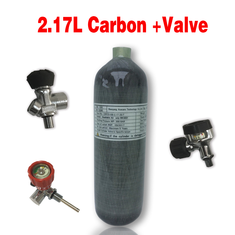 Acecare 2.17L CE Scuba Tank Pcp Air Rifle Airforce Condor Carbon Fiber Tank 4500Psi Paintball Tank Balloon For Diving Pcp ValveM