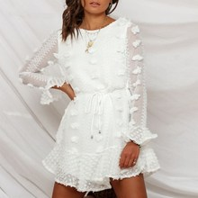 Sexy Pom Poms Women's White Dress 2019 Autumn Long Sleeve See Through A Line Ruffle Black Dress Embroidery  Casual Mini Dresses
