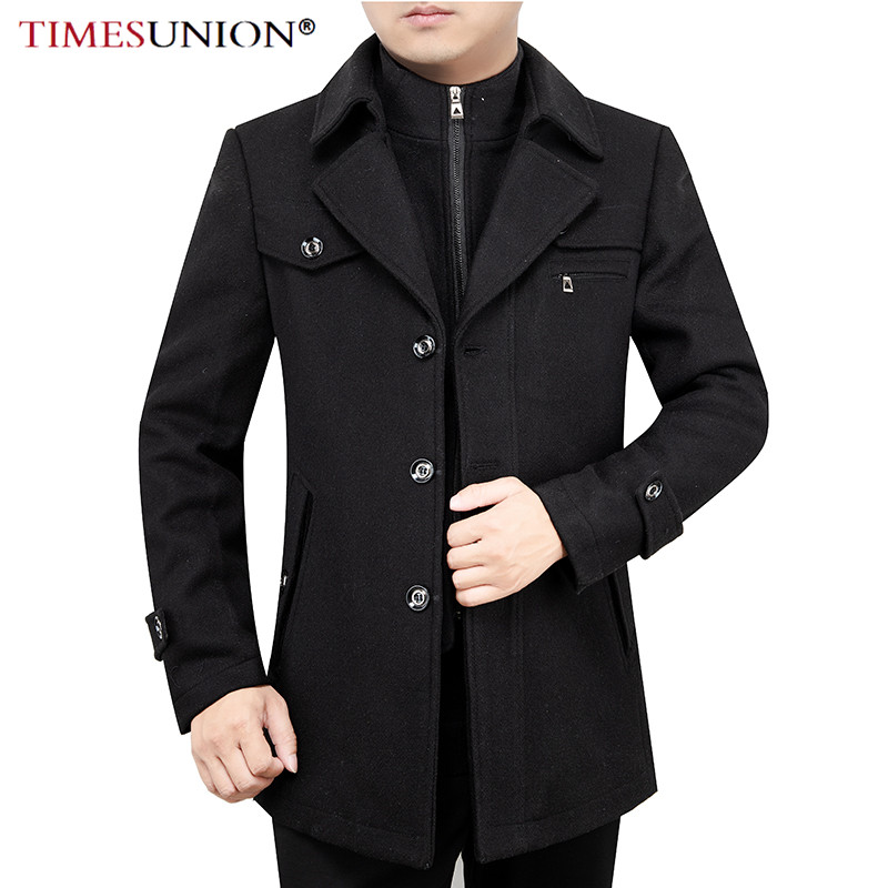 TIMESUNION Casual Brand Men Blends Coats Autumn Winter New High Quality Solid Color Men's Wool Coat Male Fashion Wool Coat Tops