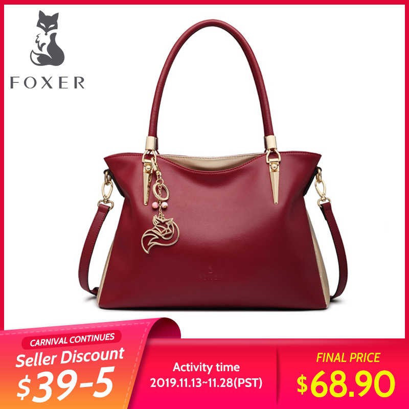 FOXER kadın hakiki deri çanta omuz çantaları moda katı çok renkli kadın dana Tote çanta Messenger Crossbody çanta