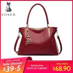 Foxer mulheres bolsa de couro genuíno sacos de ombro moda sólida multi colorido do sexo feminino tote saco mensageiro sacos crossbody