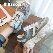 Bison Autumn Spring Sport Shoes Women Sneakers Sport Thick Bottom Sequins Lace Up Shoe Female Platform Ins Breathable Shoes new autumn female shoes korean thick bottom platform increased single shoe woman muffin bottom lace up student sport shoes white