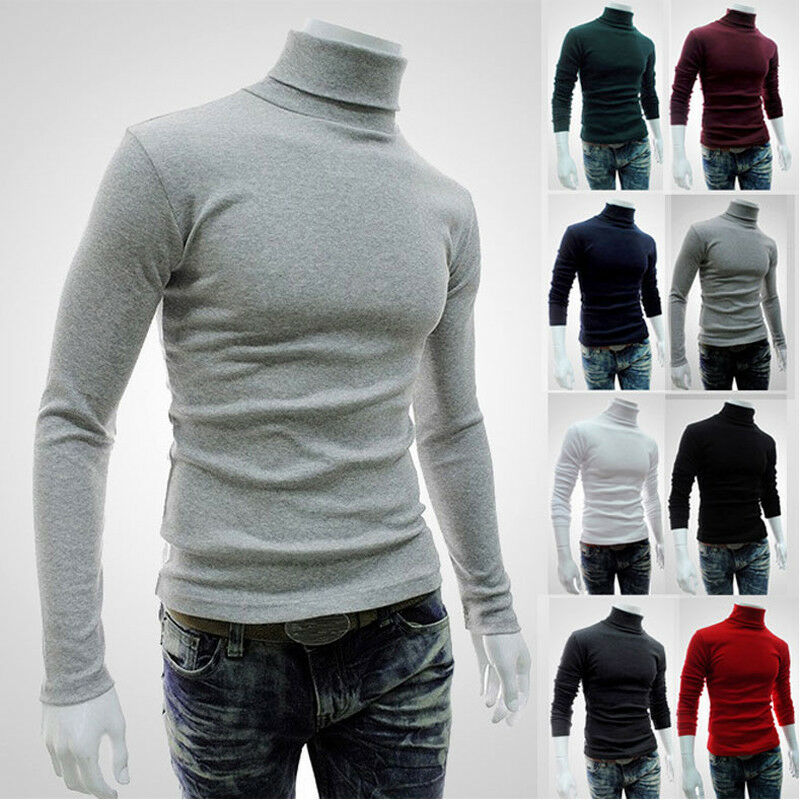 Meihuida Spring Autumn 2020 New Casual Men Long Sleeve Knitwear Turtle Neck Slim Fit Basic Pullover Tops
