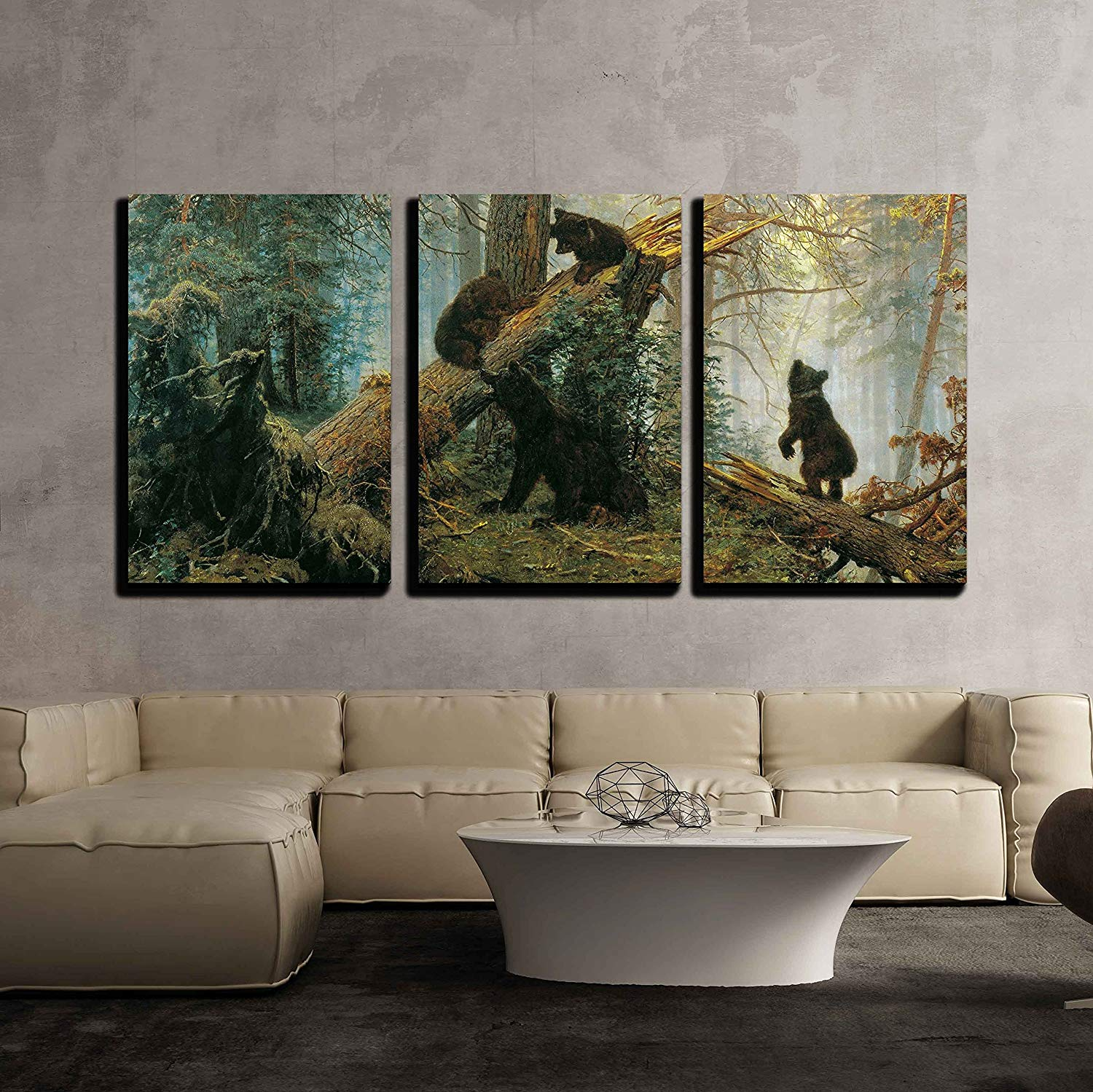 3 stuks Moderne Canvas Schilderij Zwart Beren in Bos Schilderen Dier en Landschap Canvas Art Wall Decor Drop Shipping