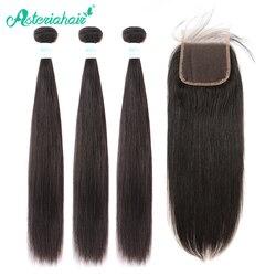 Asteria-mechones de pelo liso brasileño con cierre, 4x4, 3 mechones de pelo humano Remy con cierre de encaje 4x4