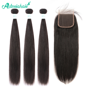 Asteria Hair Brazilian Straight Hair Bundles With Closure 4x4 Human Hair 3 Bundles With 4x4 Lace Closure Remy Hair Extension(China)