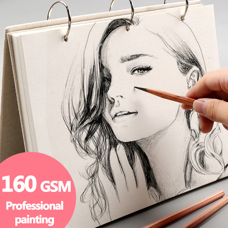 Spiral Sketchbook Super Thick Notebook Retro Linen Hardcover, 120 Pages 160 GSM, Professional Painting, Replacable Refill