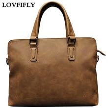 Fashion Vintage Classic Handbag Unisex Briefcase Crazy-horse Leather Women Design  High Quality Business Tote Matte Laptop Bag