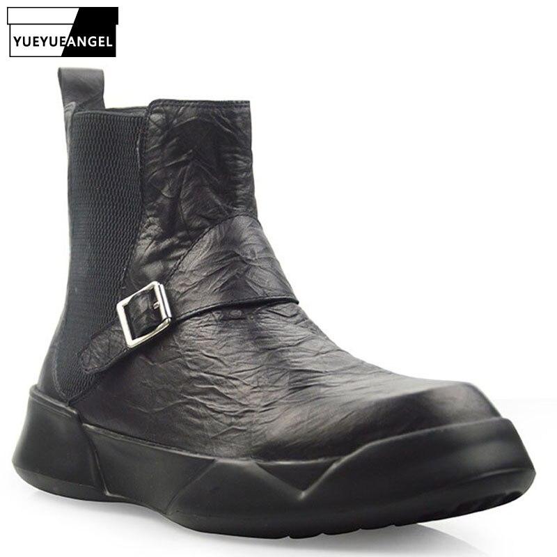 Britannique rétro 100% cuir véritable Chelsea bottes hommes automne hiver décontracté sans lacet bottines noir haut plate forme chaussures 38 44