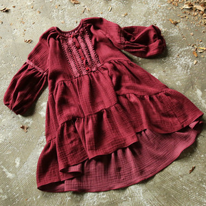 Image 5 - 2019 New Brand Girls Spring Dress Kid Dress Baby Girl Princess Dress Lantern Cotton Linen Toddler Embroidery Lace Dress,#3655