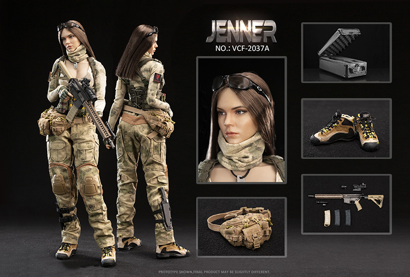 VERYCOOL VCF-2037 1/6 Double Women Soldier JENNER Figure Female Doll + German Shepherd For Collection