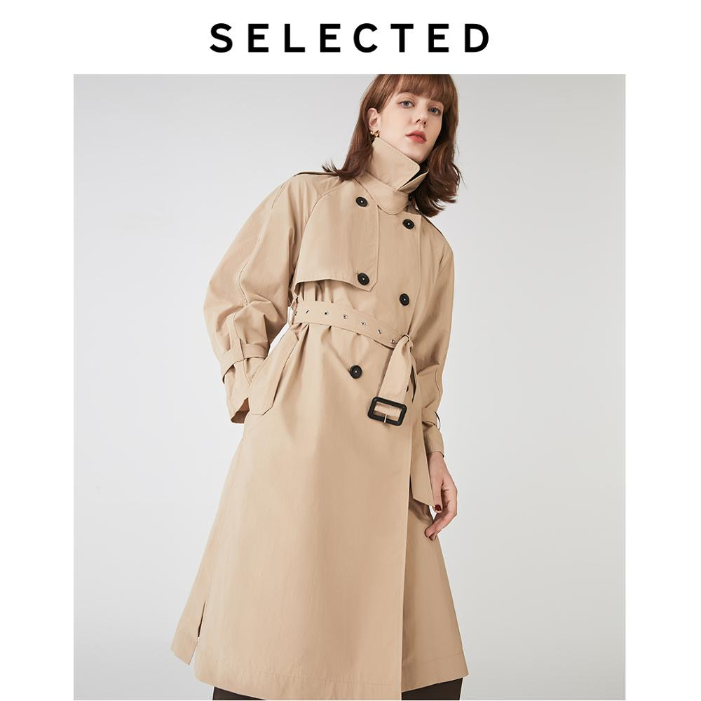 SELECTED Women's Loose Fit Double-breasted Lace-up Trench Coat S|419321507