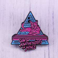Funny Neon Cat piano keyboard Enamel Pin Cats On Synthesizers In Space Triangle Brooch Cute Badge(China)